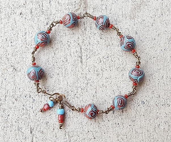 Beaded Wire | Amazon Com Blue Beaded Wire Wrap Copper Bracelet Blue Chain Link