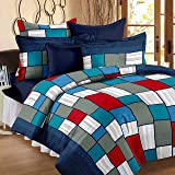 Story@Home Candy 120 TC Cotton Double Bedsheet with 2 Pillow Covers - Checkered,Blue