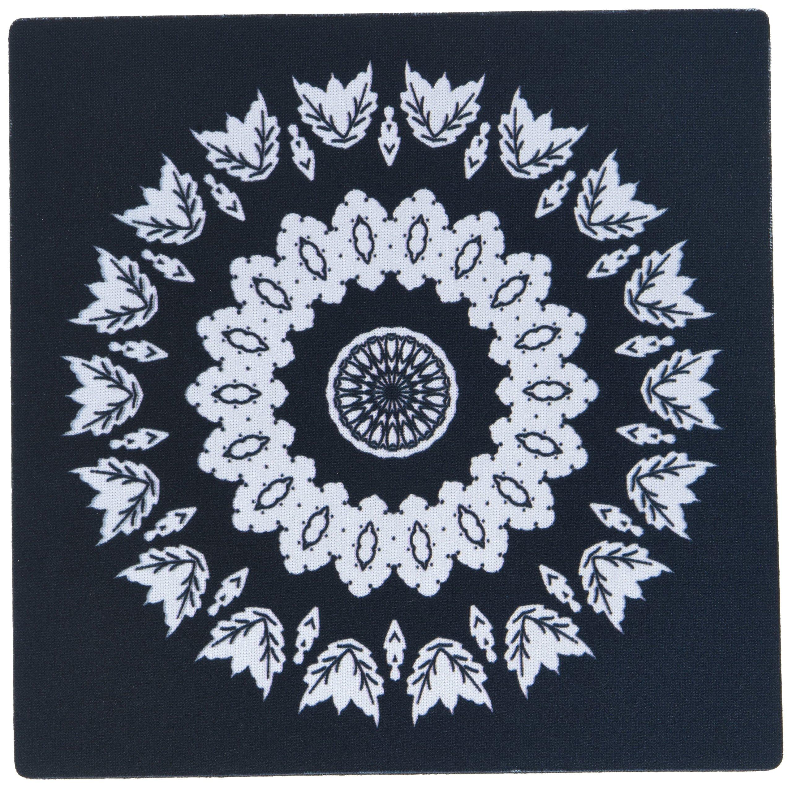 3dRose Black and White Floral Mandala On Black Backgrond Mouse Pad (mp_41998_1)