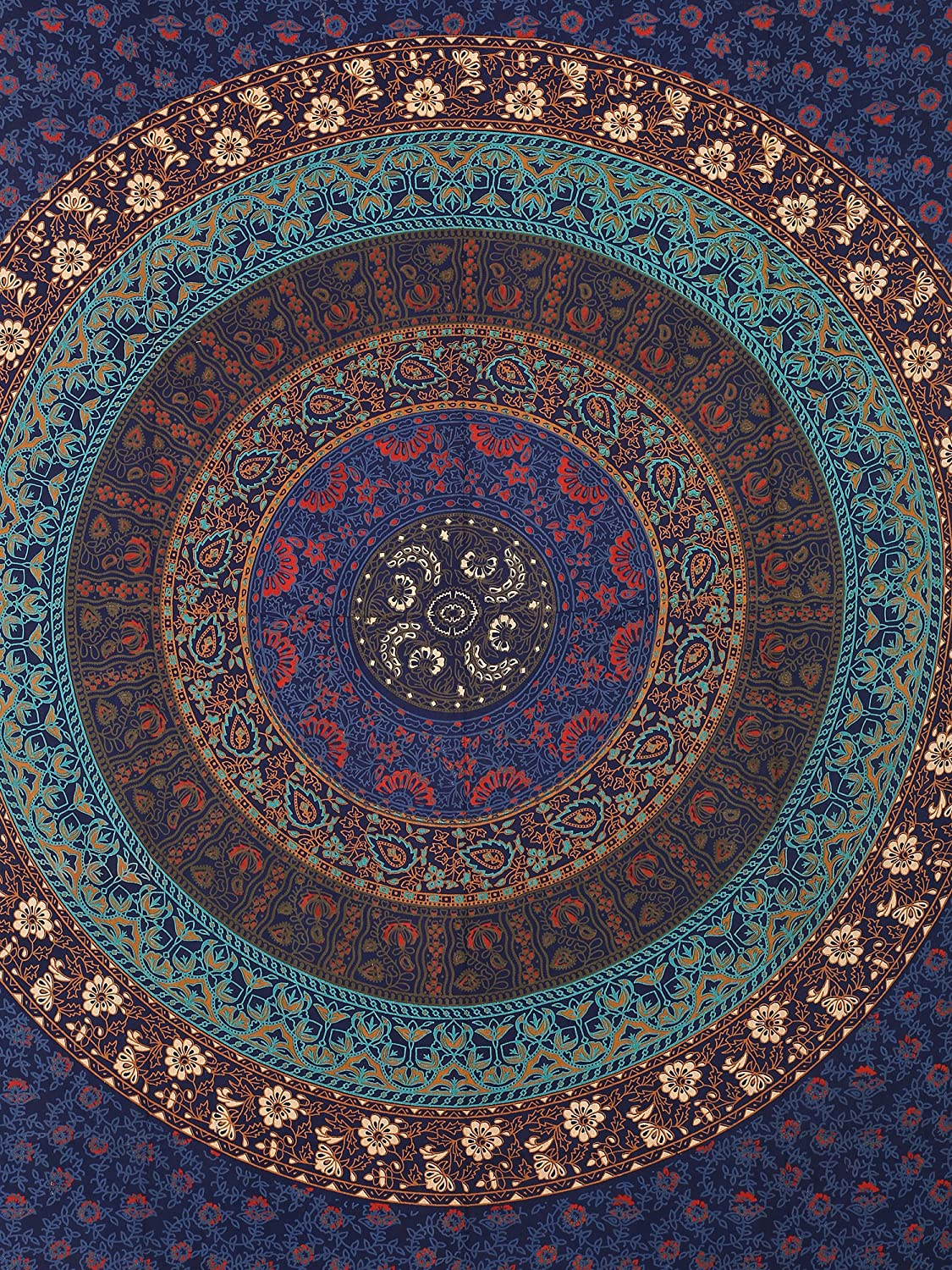 Gokul Handloom Hippy Mandala Bohemian Tapestries Indian Dorm Decor Psychedelic Multicolor Tapestry Wall Hanging Ethnic Decorative Tapestry GHT00112