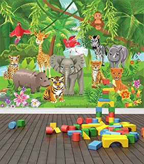 Jungle Animals Wall Mural Photo Wallpaper Safari Kids Bedroom Nursery  (Large 1500mm X 1150mm) Part 34