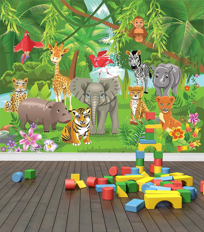 Jungle Animals Wall Mural Photo Wallpaper Safari Kids Bedroom Nursery X Large 1900mm X 1488mm
