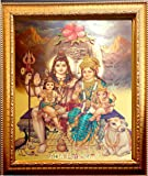 ADA Handicraft Shankar ji Lord Shiva & Family Hindu God Photo Frames for wall and pooja / poster for pooja / Religious Framed Painting For Worship (24 X 33)cm