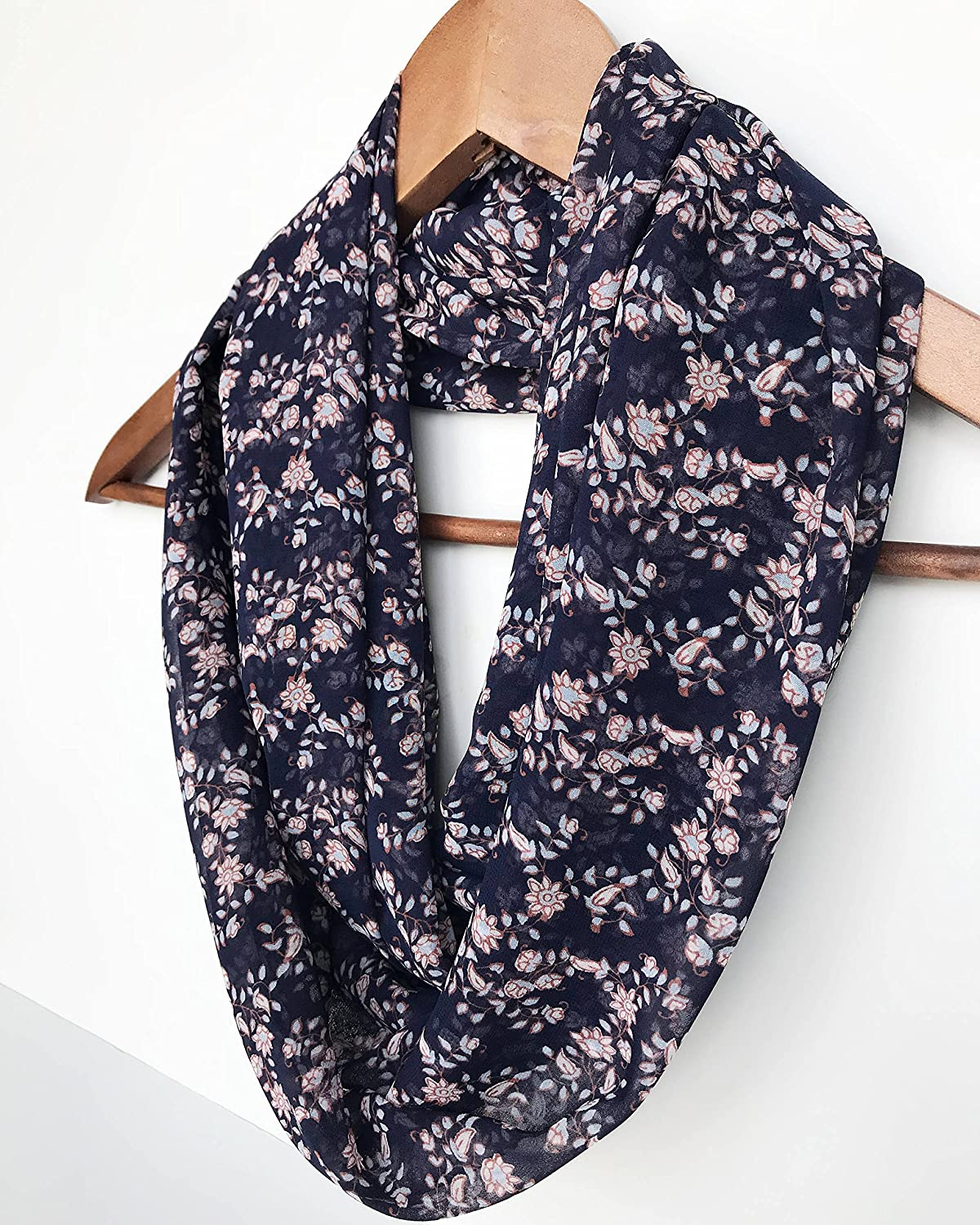 0329e2612fc Amazon.com: Navy Blue Infinity Scarf, Floral Scarf, Lightweight ...