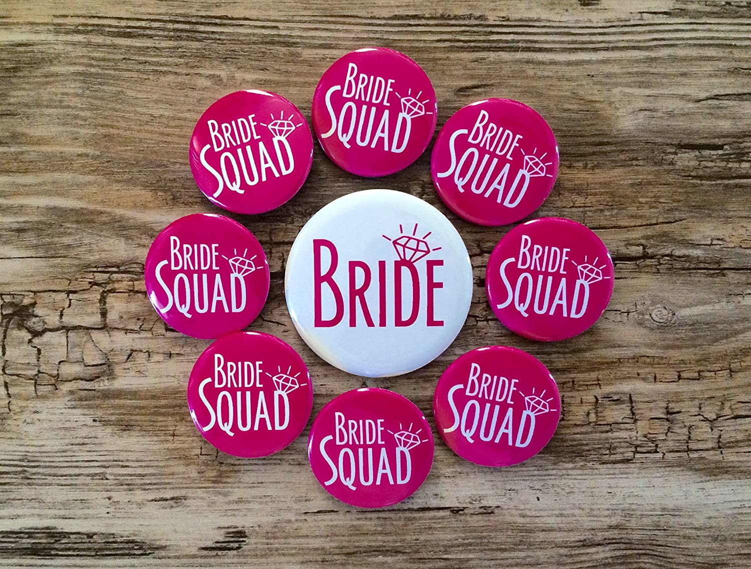 Bride Squad Hot Pink Bachelorette Party Button Set