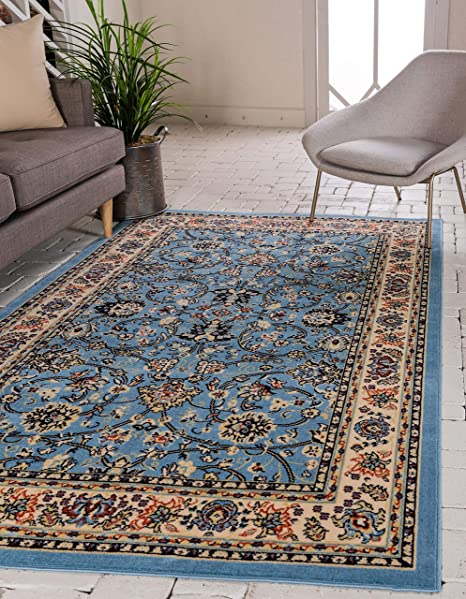 Amazon Com Unique Loom Kashan Collection Traditional Floral Overall Pattern With Border Light Blue Area Rug 4 0 X 6 0 Furniture Decor