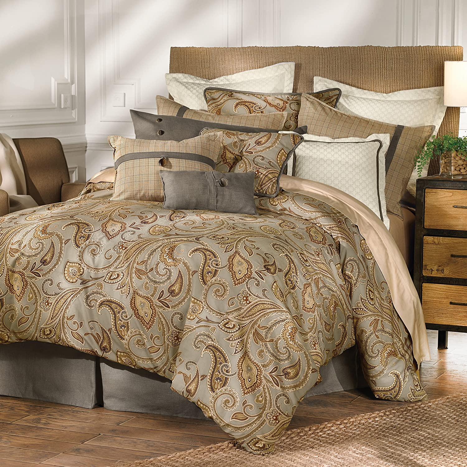 hiend piece king cream piedmont com dp comforter accents set home amazon kitchen super