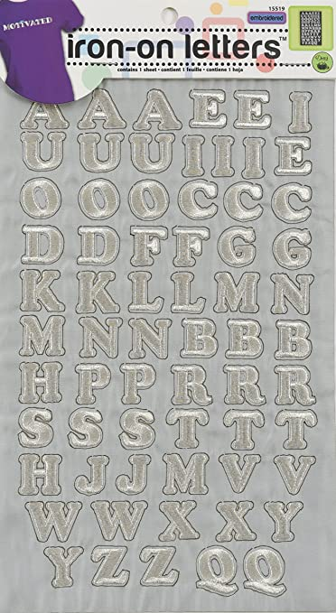 "1/"" Block-silver Dritz Iron-on Letters Sequin"