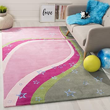 Amazon Com Safavieh Kids Collection Sfk338a Handmade Stars Wool Area Rug 3 X 5 Green Pink Furniture Decor