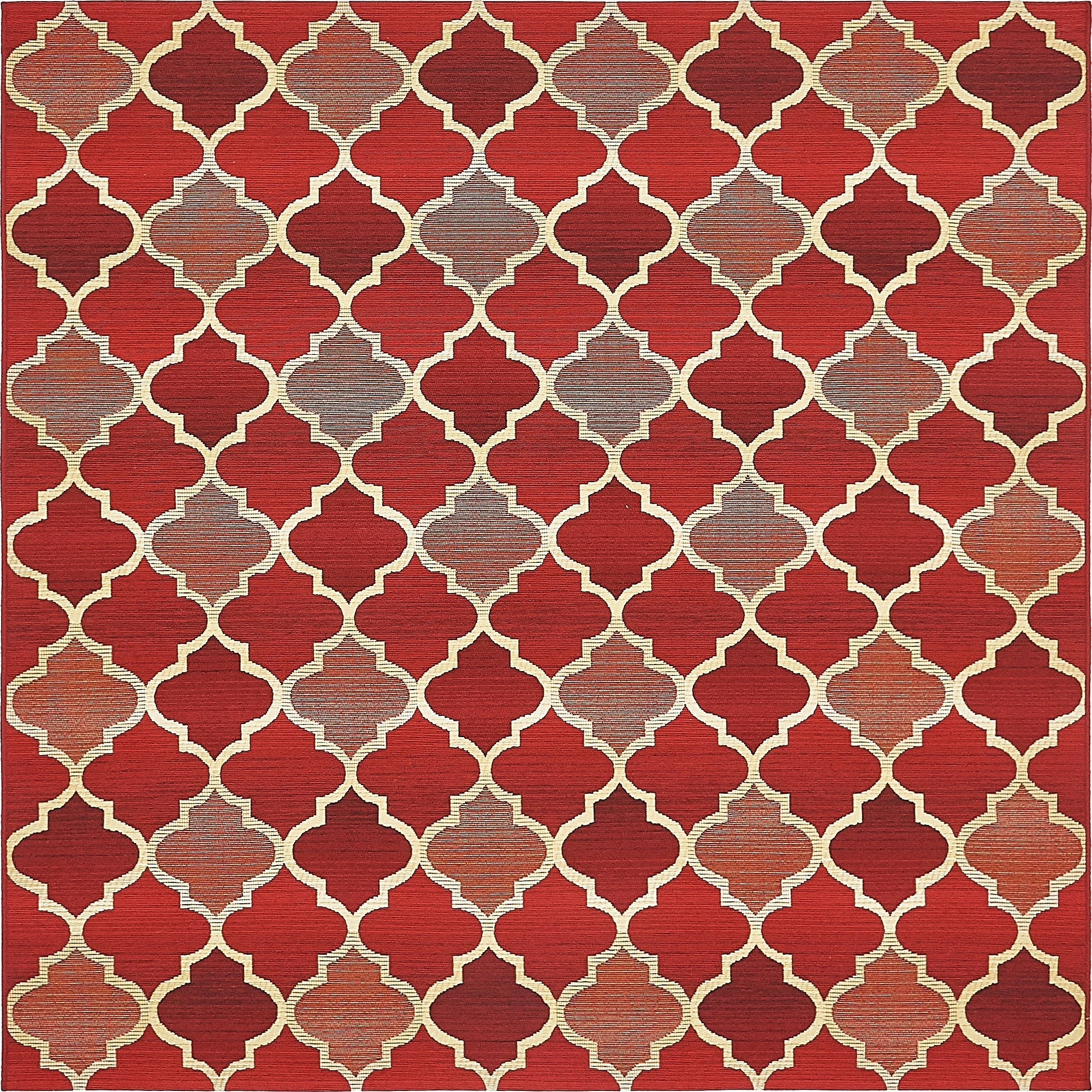 Unique Loom Eden Outdoor Collection Red 6 ft Square Area Rug (6' x 6')