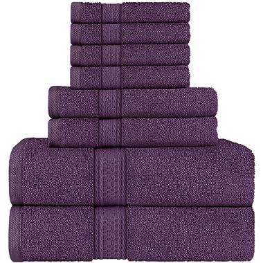 Utopia Towels 8 Piece Towel Set, Plum, 2 Bath Towels, 2 Hand Towels, and 4 Washcloths