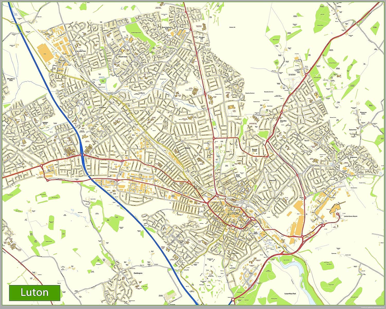 Luton Street Map Paper Size 200 x 160 cm Amazoncouk Office