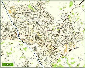 luton street map paper size 200 x 160 cm