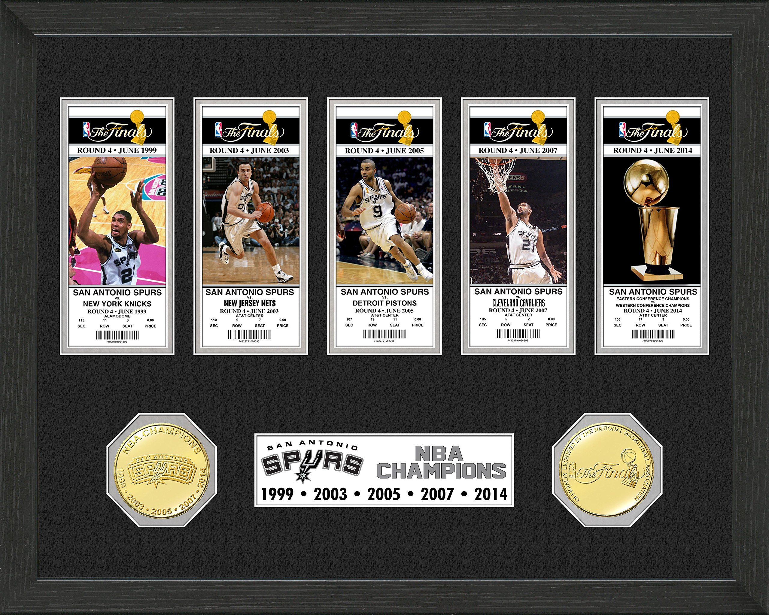 NBA San Antonio Spurs 5-Time Champions Bronze Coin Ticket Collection, 22'' x 15'' x 4''
