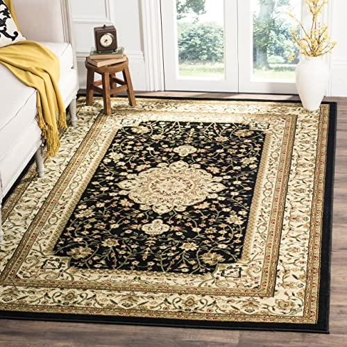 Safavieh Lyndhurst Collection LNH213A Traditional Oriental Medallion Black and Ivory Area Rug 6 x 9