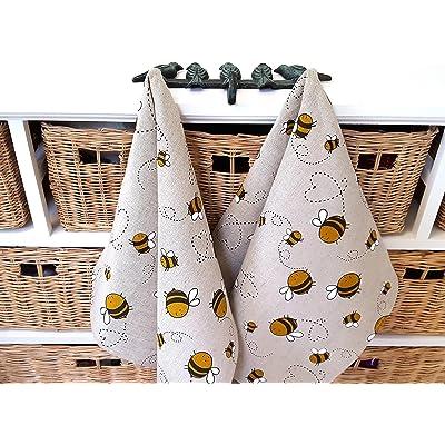 Hecho a mano de algodón de lino ocupado abejas toalla de cocina - Handmade Linen Cotton Busy Bees Tea Towel Kitchen Towel Dish Towel.