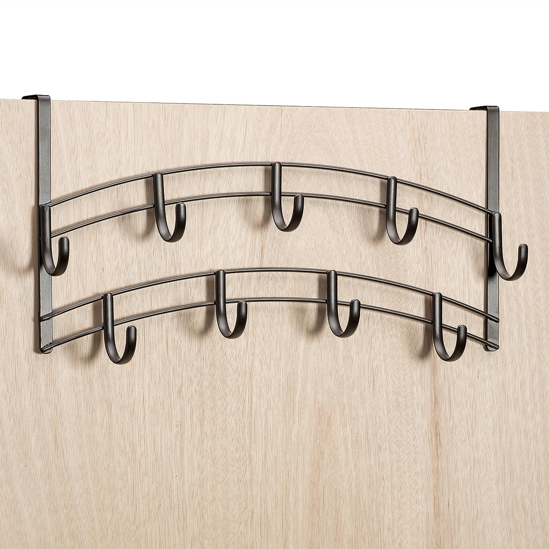 Amazon.com: Lynk Over Door Accessory Holder   Scarf, Belt, Hat, Jewelry  Hanger   9 Hook Organizer Rack   Bronze: Home U0026 Kitchen