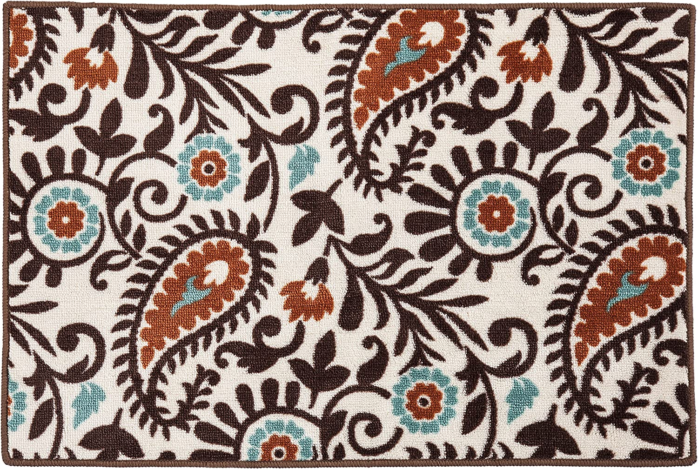 Amazon Com Hiend Rebecca Chocolate Brown Terra Cotta Turquoise Paisley Kitchen Bath Western Inspired Decor Rug 24 X 36 Home