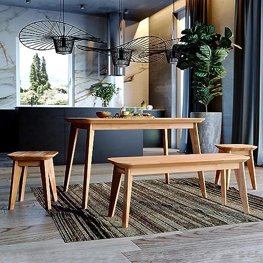 100/% Naturale Krok Wood Paris 110 x 75 x 75 cm Tavolo da Pranzo in Legno di Quercia Massiccio