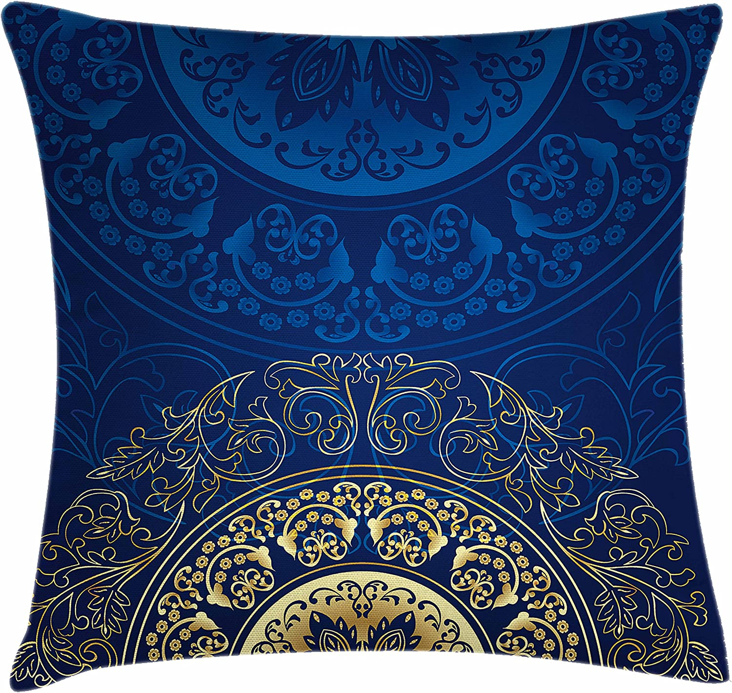 Amazon Com Lunarable Royal Blue Throw Pillow Cushion Cover Vintage Eastern Circular Floral Old Fashioned Design Decorative Square Accent Pillow Case 16 X 16 Blue Yellow Home Kitchen