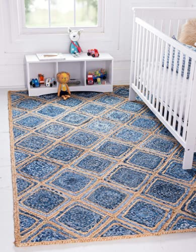 Unique Loom Braided Jute Collection Hand Woven Natural Fibers Blue Area Rug 9' 0 x 12' 0
