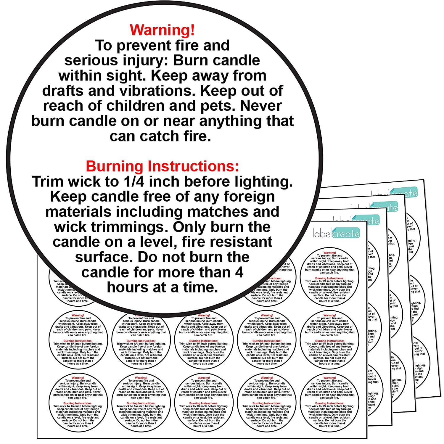(Transparent) - 60x GLOSSY PLASTIC Candle Warning Labels. 100% Waterproof Stickers. Candle Safety Labels (Transparent) B00TFGDXKE 透明