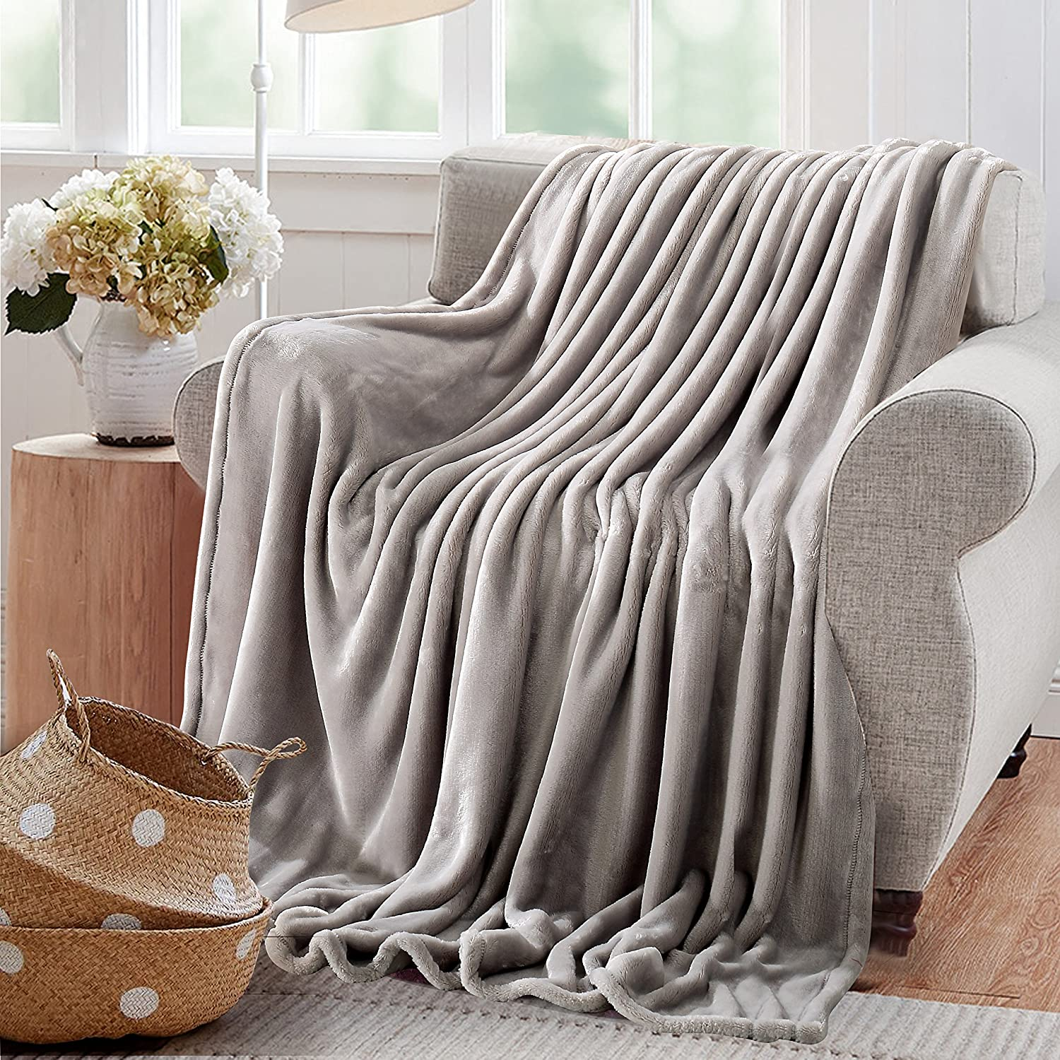 "Reafort Ultra Soft Flannel Fleece All Season Light Weight Living Room/Bedroom Warm Blanket (Silver Grey, Throw 50""X60"")"