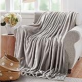 "Reafort Ultra Soft Flannel Fleece All Season Light Weight Living Room/Bedroom Warm Throw Blanket(Silver Grey, Full/Queen 90""X92"")"