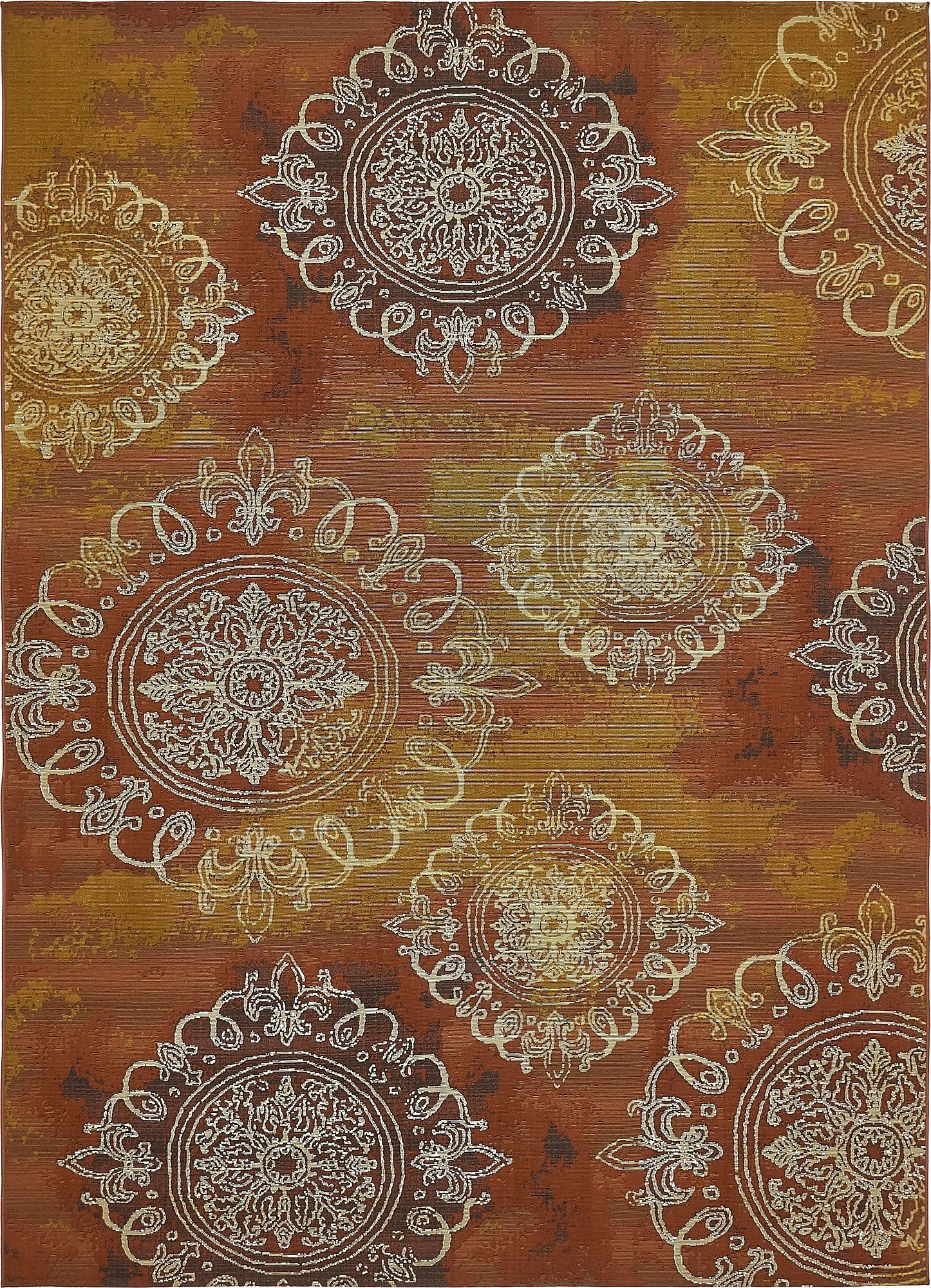 Unique Loom Eden Outdoor Collection Rust Red 8 x 11 Area Rug (8' x 11' 4'')
