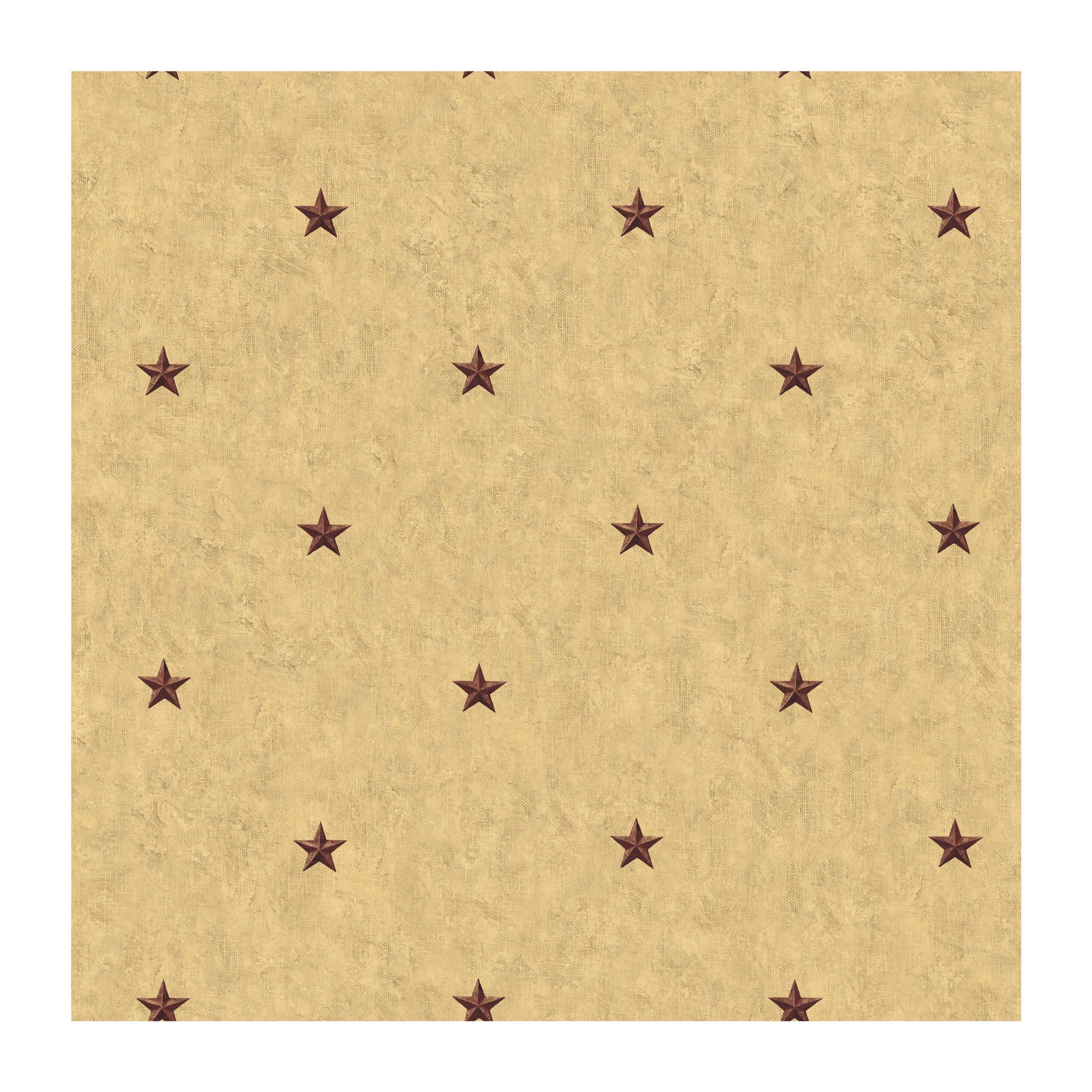 York Wallcoverings Best Of Country CT1923 Barn Star Spot Wallpaper, Khaki Background/Burgundy