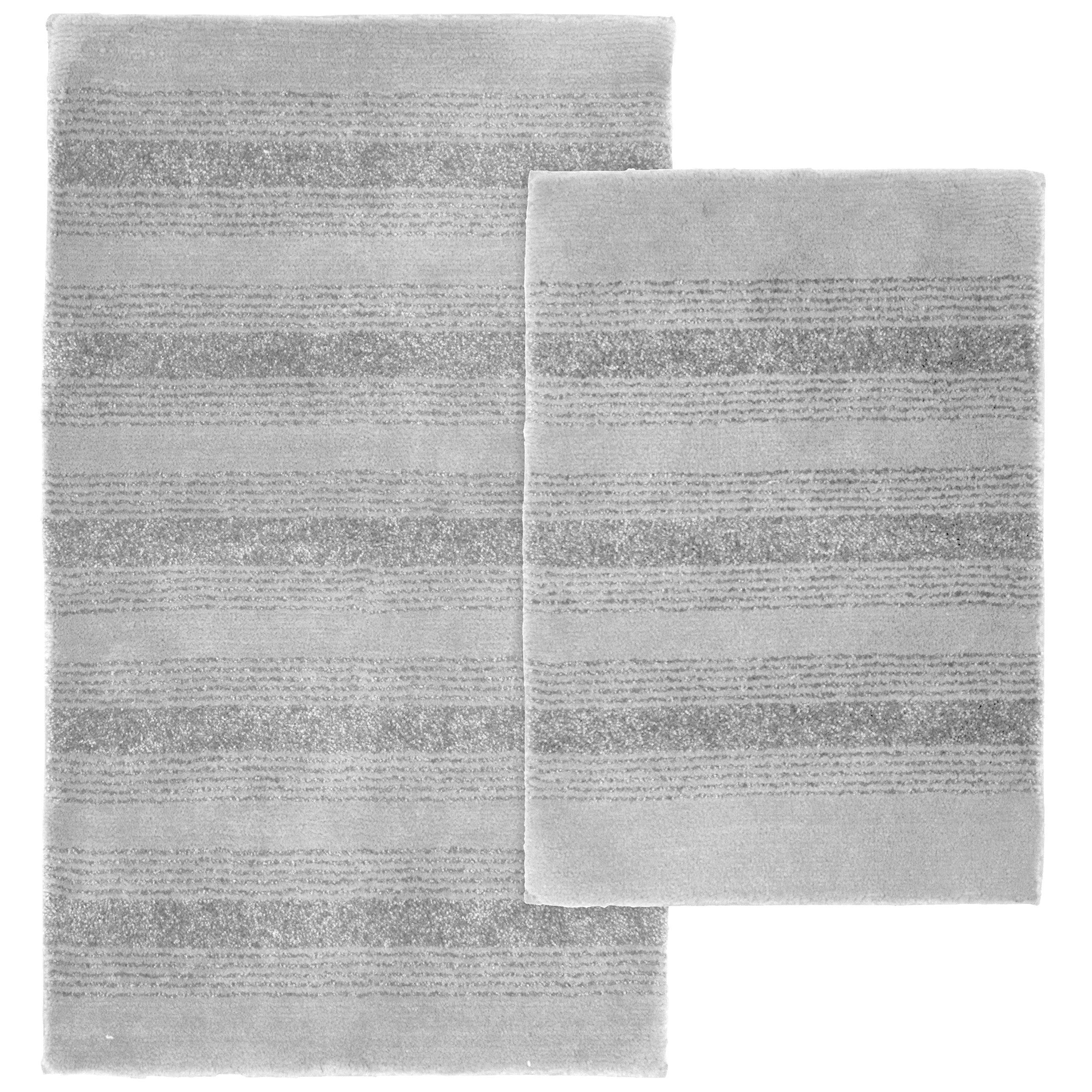 Garland Rug 2-Piece Essence Nylon Washable Bathroom Rug Set, Platinum Gray