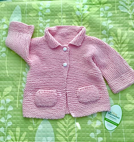 dd47a0629a3b Amazon.com  Pretty in Pink Hand Knit Baby Sweater--in Extra Fine ...