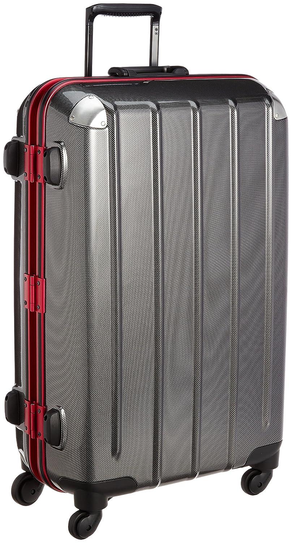 [プラスワン] PLUS ONE スーツケース81L 5.6kg 無料預入受託サイズ ヒノモトキャスター B00ZHDXPGQカーボン/レッドフレーム