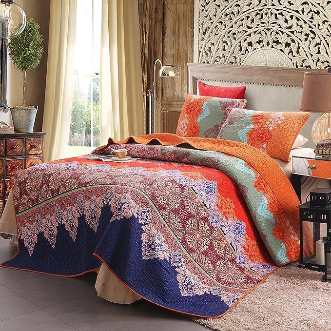 Exclusivo Mezcla 100% Cotton 3 Piece Rich Printed Boho Quilt Set, Reversible& Decorative   Full/Queen by Exclusivo Mezcla