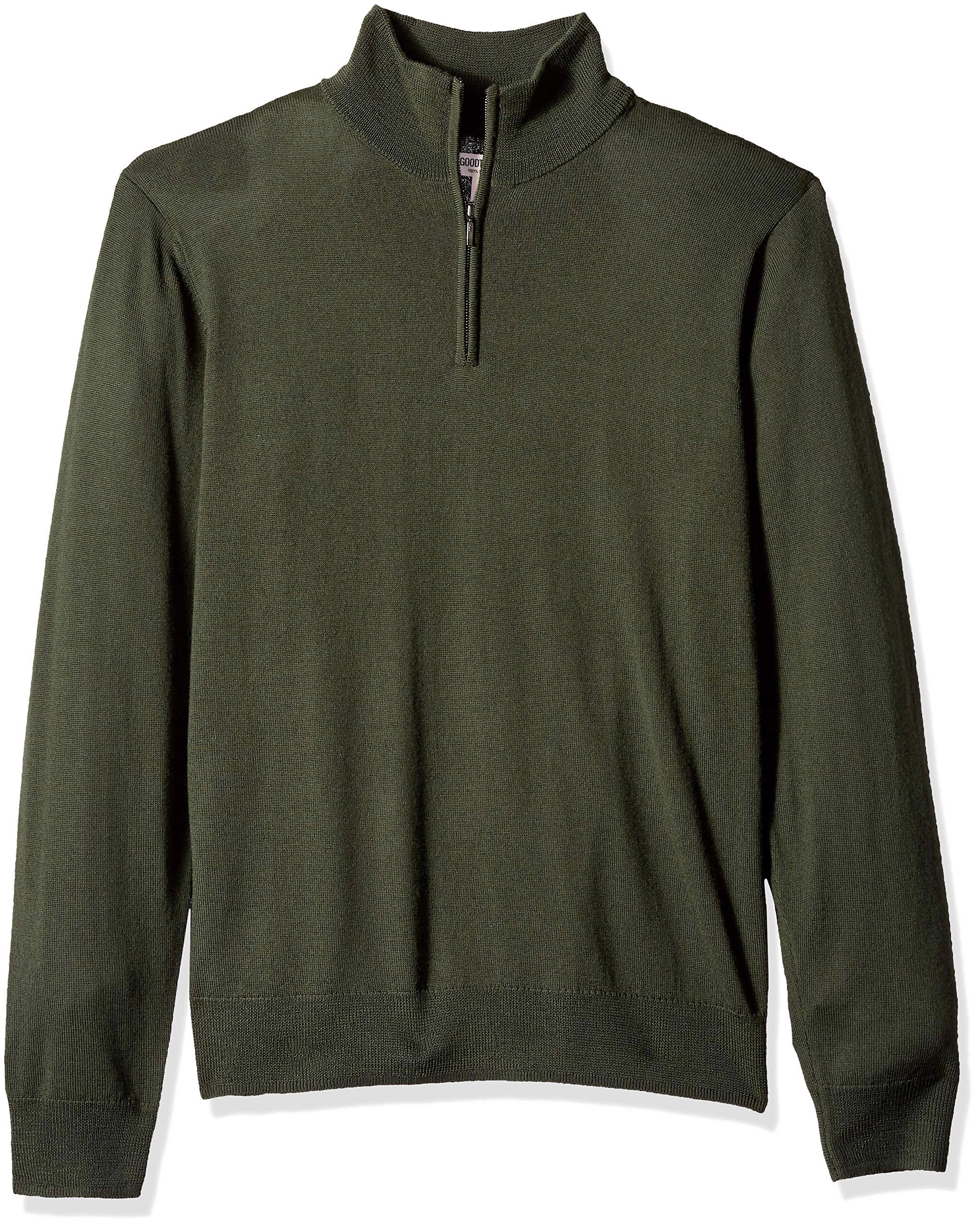 Goodthreads Men's Merino Wool Quarter Zip Sweater, Olive, XX-Large
