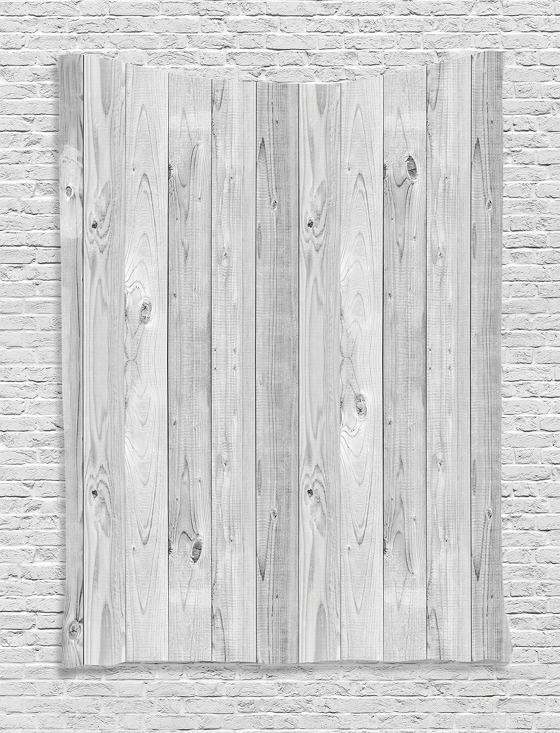 Ambesonne Grey Decor Collection, Picture of Smooth Oak Wood Texture in Old Fashion Retro Style Horizontal Nature Design Home Print, Bedroom Living Room Dorm Wall Hanging Tapestry, Gray by Ambesonne (Image #1)