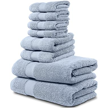 8 Piece Bath Towel Set. 2017(New Collection). 2 Bath Towels, 2 Hand Towels, 4 Washcloths. Premium Quality Turkish Towels. Super Soft, Plush and Highly Absorbent. (Towel Set - Set of 8, Serenity Blue)