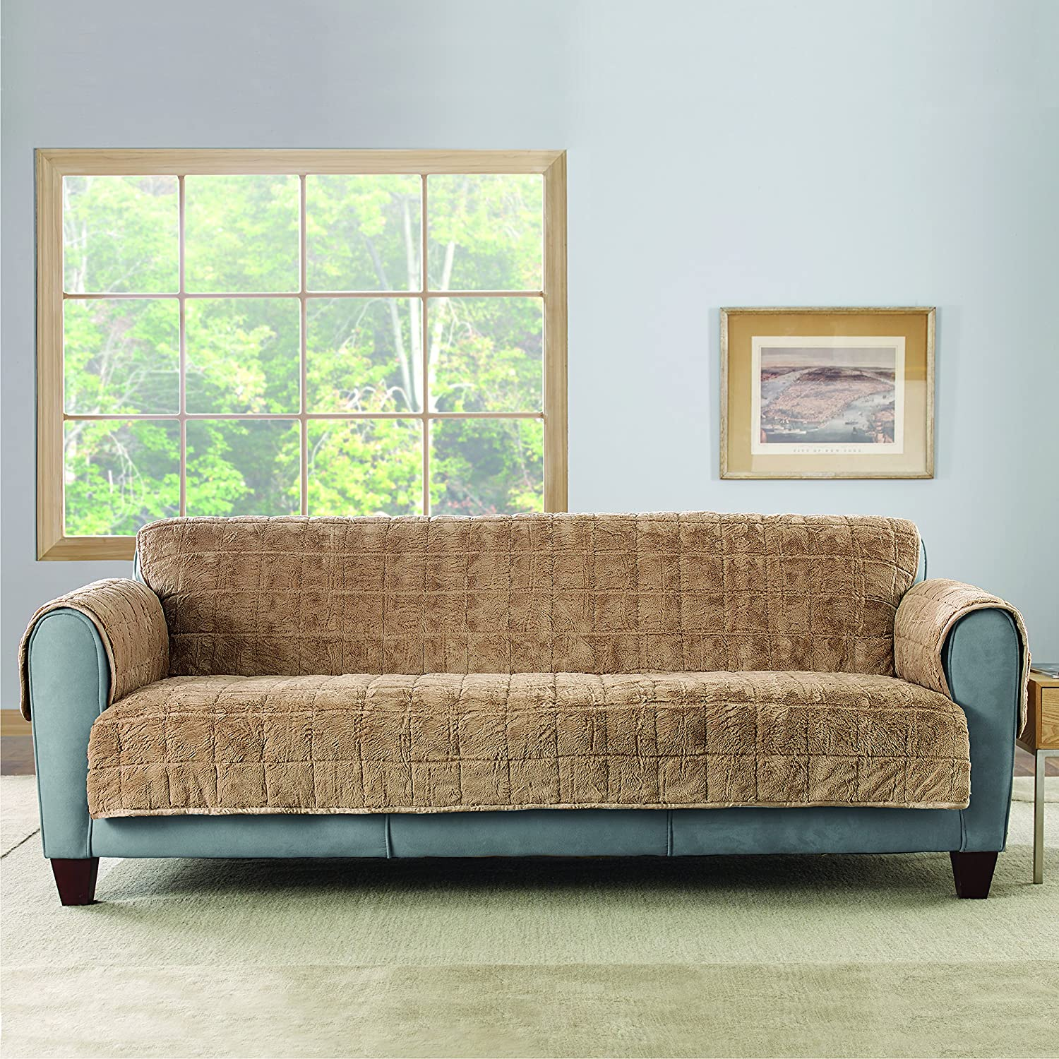 Amazon Sure Fit Faux Fur Throw Quilted Sofa Slipcover