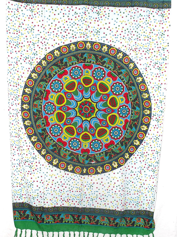 Pareo Sarong Tuch bunt farbig mit Elefant Mandala Design//gro/ße Auswahl sch/önste Farben//Wickelrock Strandtuch Sauna-Tuch Wickelkleid Schal Bademode Freizeitmode Sommermode//aus 100/% Viskose