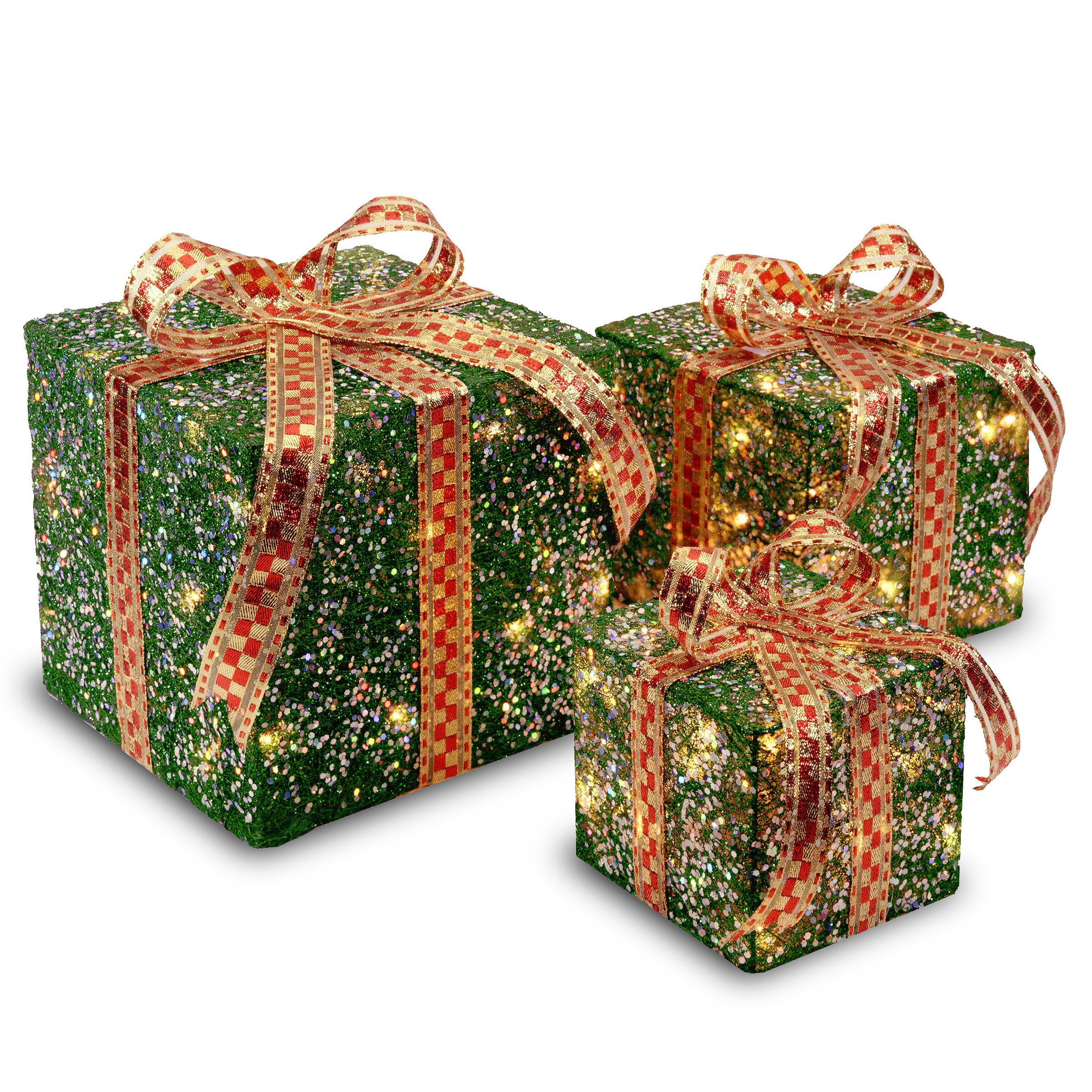 National Tree Set of 3 Assorted Green Sisal Gift Boxes with Clear Lights (MZGB-ASST-3L-1)