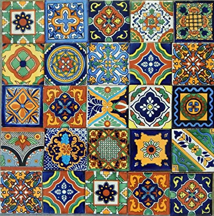 Amazon Mexican Tiles Mix Box Of 60 Talavera Tiles Hand Painted Custom Colonial Patterns