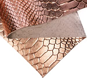Rose Gold Snake Embossed Leather: Real Shiny Metallic Rose Gold Snake Texture Lambskin Leather Sheet for Crafting, Earring Making and Sewing(Rose Gold Snake, 8x10In/ 20x25cm)