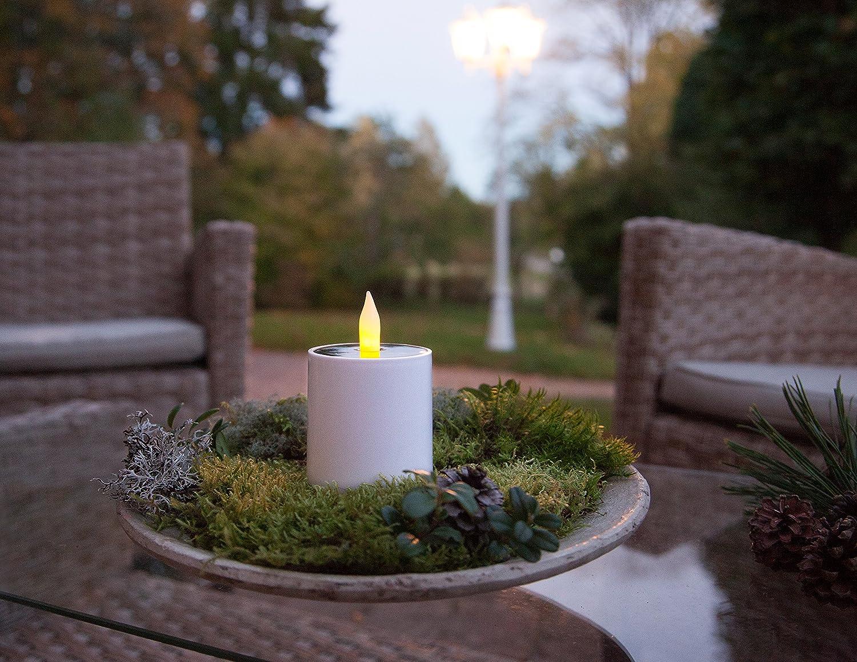 Kamaca LED SOLAR Kerze TEELICHT Laterne mit D/ämmerungssensor in Weiss mit 1 Amber LED flackernd mit Solar Panel Outdoor 1 x LED Kerze gro/ß 11,5x7,3 cm