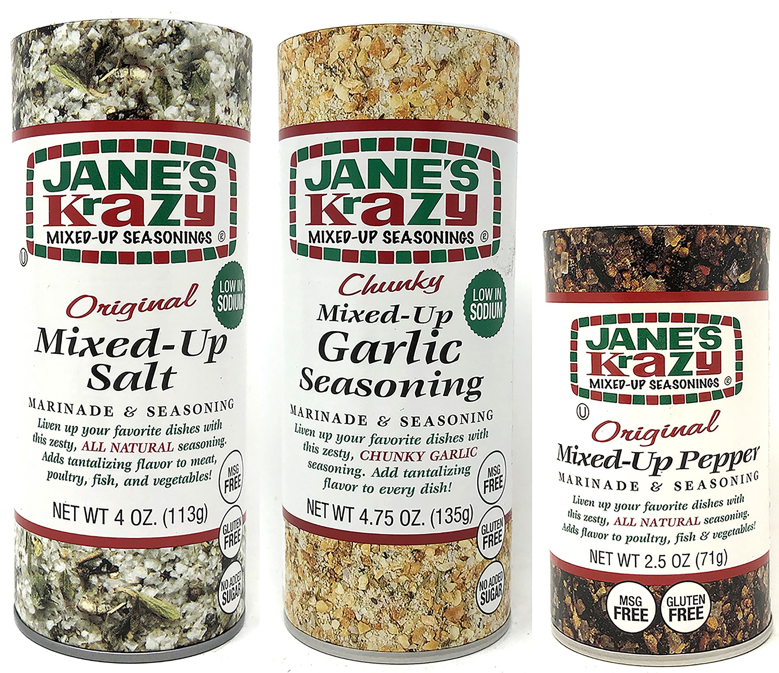Jane's Krazy Mixed Up Seasonings Variety Pack of 3 - Mixed-Up Salt Pepper and Garlic