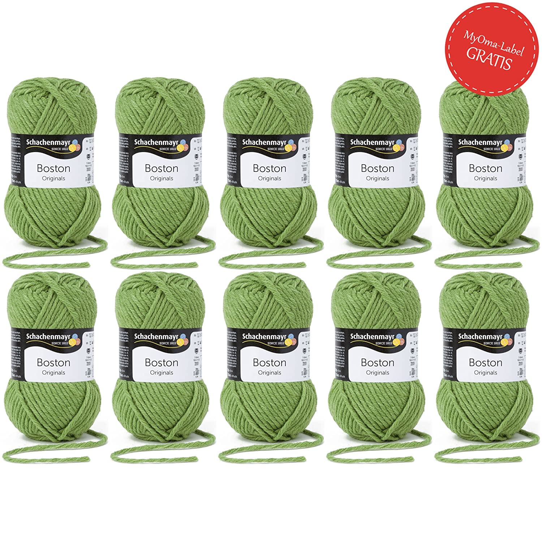 Boston Schachenmayr 5 Knäuel Gratis Myoma Label Grüne Wolle
