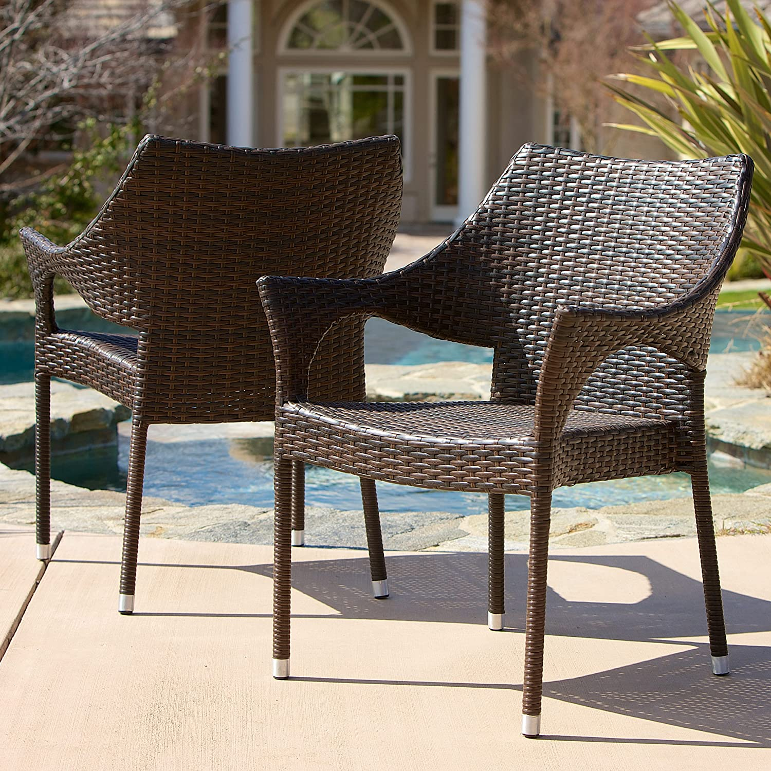 Amazon.com: Del Mar Outdoor | Wicker Stacking Chairs | Set of 2 | Perfect  for Patio | MultiBrown: Kitchen & Dining - Amazon.com: Del Mar Outdoor Wicker Stacking Chairs Set Of 2