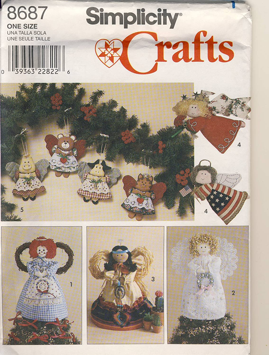 Simplicity Crafts Sewing Pattern 8687 - Use to Make - Angel Tree Topper or Standing Decoration and Angel Ornaments in 2 Sizes Simplicity Pattern Co.