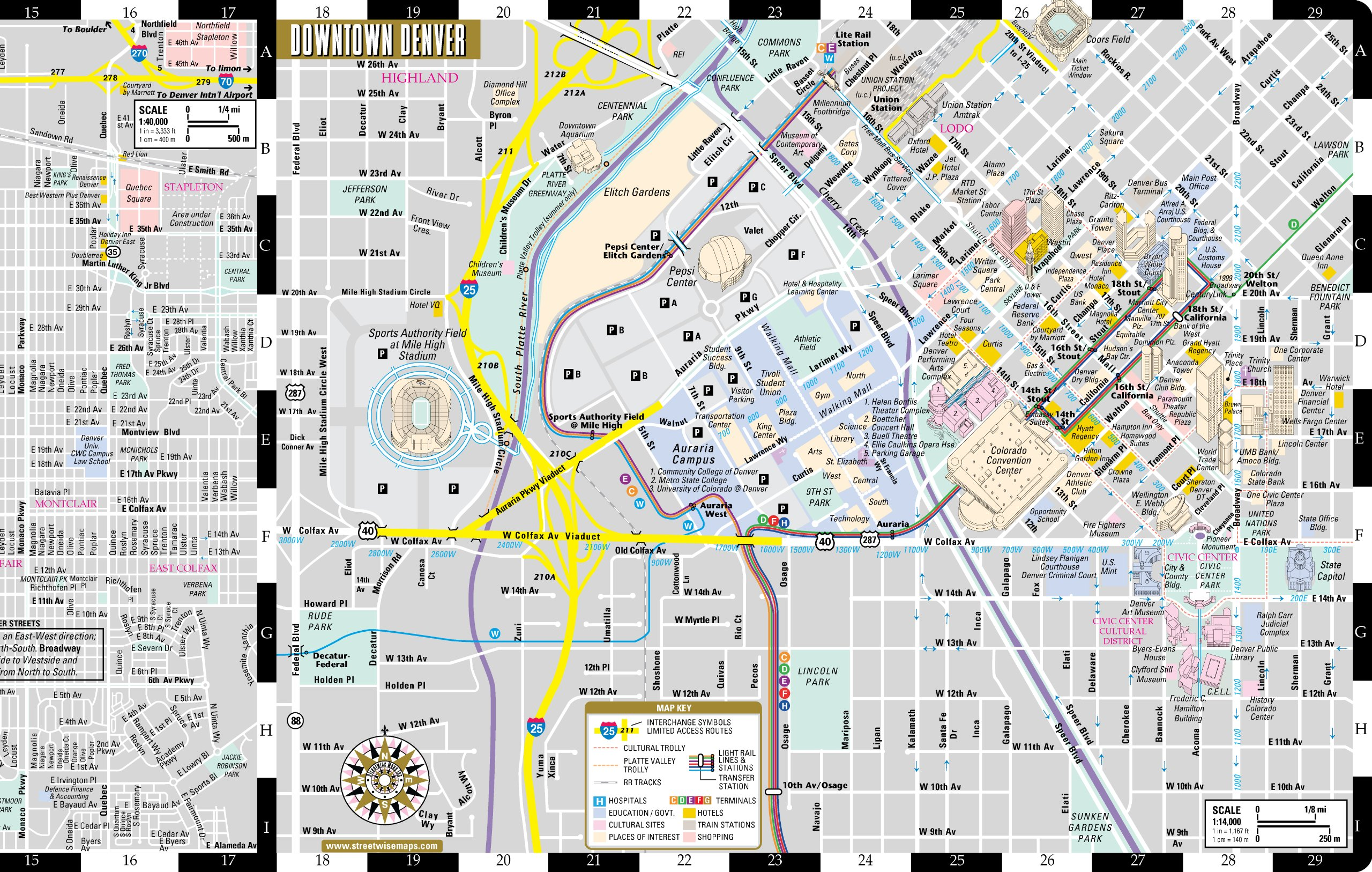 streetwise denver map  laminated city center street map of denver  - streetwise denver map  laminated city center street map of denvercolorado  folding pocket size travel map with light rail map trolleyboulder inset