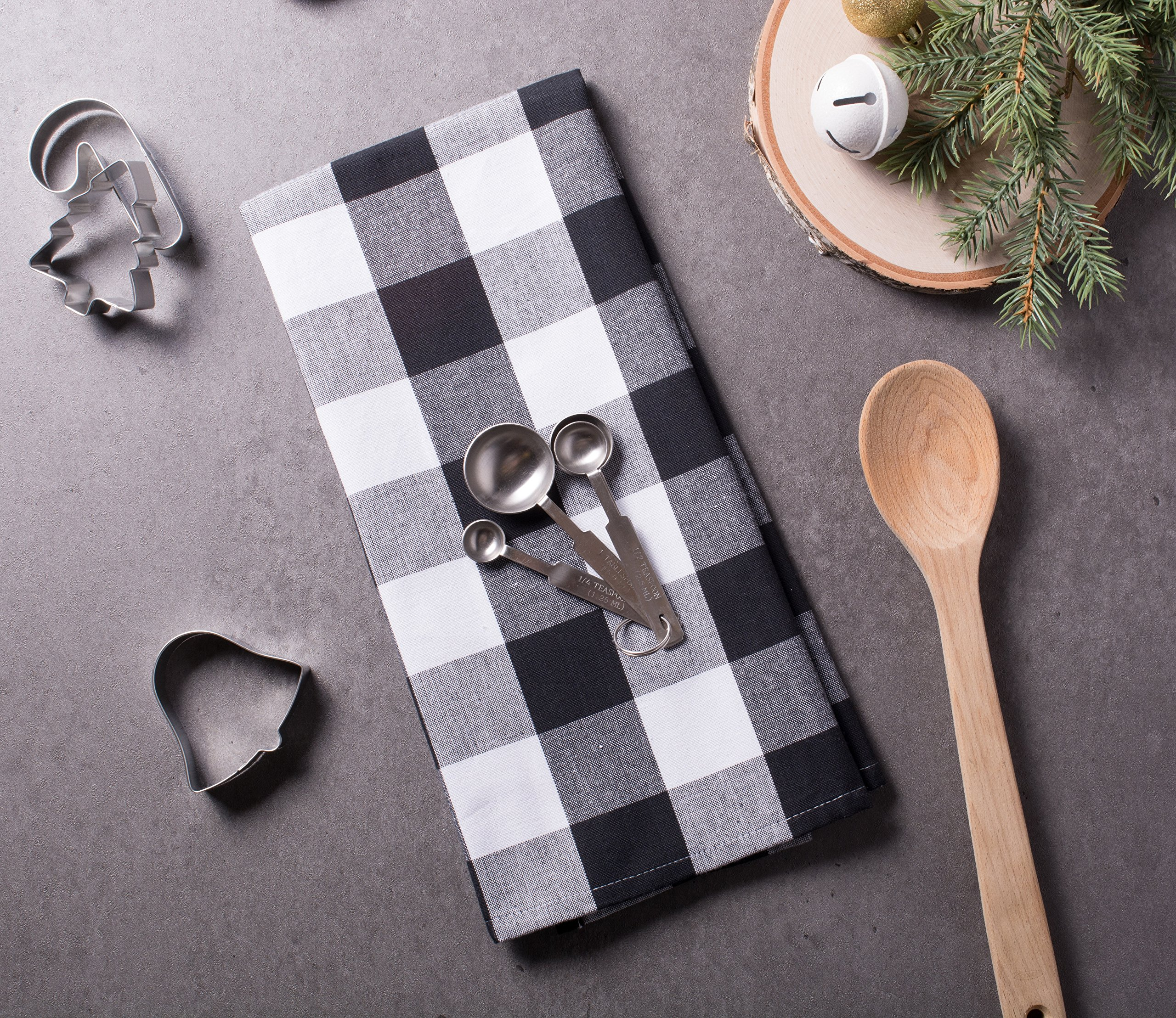 DII Cotton Buffalo Check Plaid Dish Towels, (20x30, Set of 3) Monogrammable Oversized Kitchen Towels for Drying, Cleaning, Cooking, Baking - Black & White by DII (Image #4)