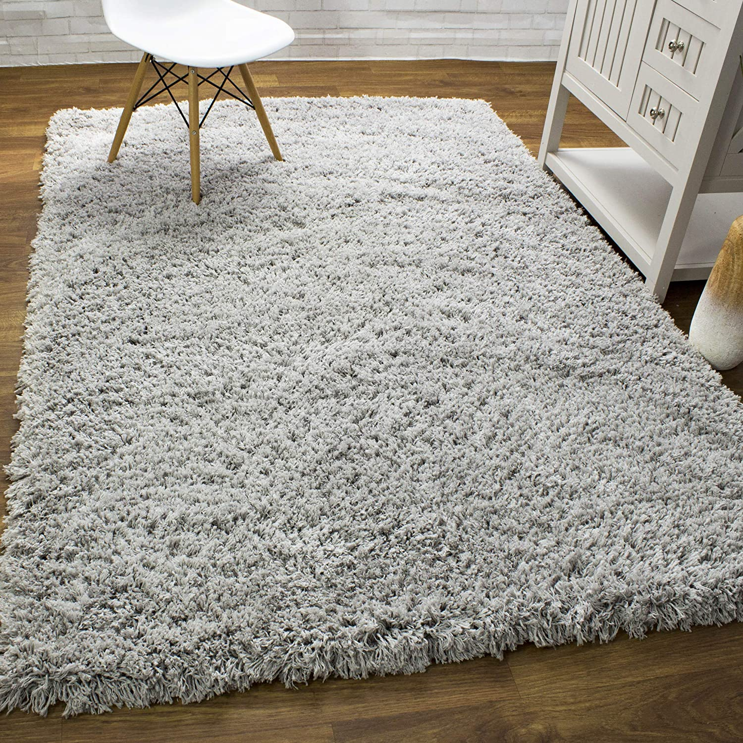 Super Area Rugs Premium Gray Shag Rug Large 8x10 for Indoor Spaces Thick & Extra Soft Shaggy 2-inch Pile